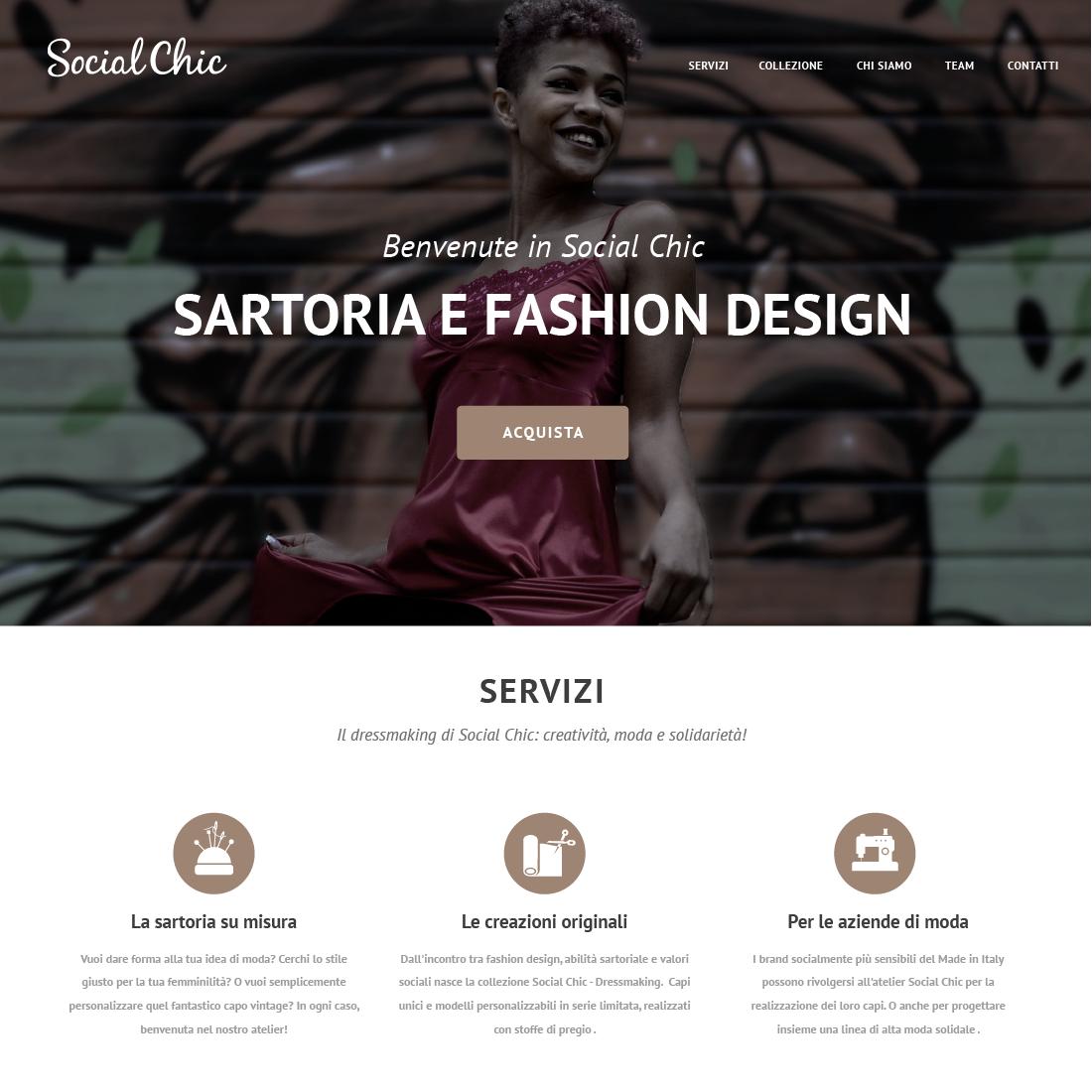 Social Chic sito web Studio Talpa